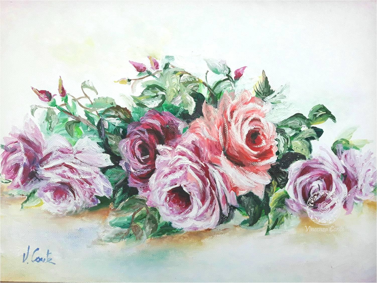 Fiori dipinti ad olio su tela. Galleria on line di Vincenza Conte.